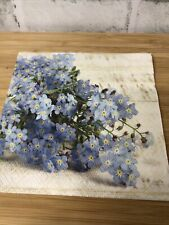 4 Shabby Chic Decoupage Napkins Botanical Forget Me Not