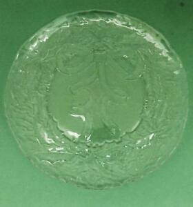"""COLLECTIBLE Clear Glass ARCOROC 13"""" Round CHRISTMAS Serving Platter w/ Bow"""