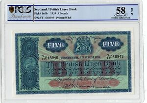 Scotland 1959 Pick# 161b The British Linen Bank 5 Pounds A Uncirculated.