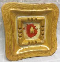 "Vintage Ceramic Art Pottery Brown Ashtray Mid Century Modern 3654 USA 10"""