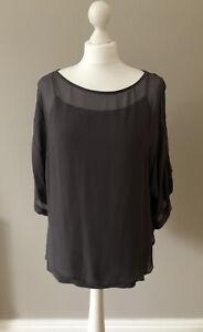 MINT VELVET Dark Grey Top, Sheer, Boxy Fit, Floaty, 3/4 Sleeve, Size 12, Ex Cond