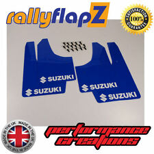 rallyflapZ SUZUKI IGNIS Sport 03-05  Mud Flaps   Blue Logo White (3mm PVC)