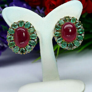 NATURAL 9 X 11 mm. RED RUBY GREEN EMERALD & ZIRCON CAMBODIA EARRINGS 925 SILVER