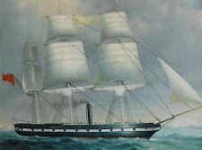 J. Parker firmado - 1a pinturas: vapor velero para 1850 u bote de remos antes de Inglaterra