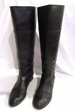 J. CREW Black Leather Tall Booker Boots Low Heel 7