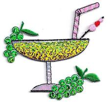 COCKTAIL w/GREEN SEQUINS & SHIMMER/Iron On Embroidered Applique/Beverages,Drinks