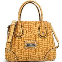 New Anais Gvani Women Handbag Croco Faux Leather Satchel Tote Bag Purse Mustard