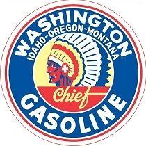Vintage Washington Idaho Montana Oregon Gasoline Decal