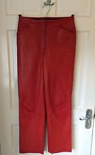 LADIES BETY BARCLAY LEATHER TROUSERS - SIZE 8 - RED