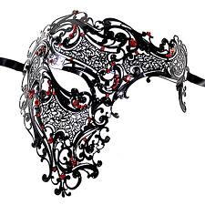 Beautiful Half Skull Laser Cut Metal Venetian Masquerade Mask W/ Red Crystals