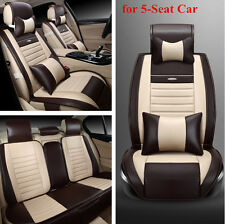 Full Set Front+Rear Seat Cover with Pillow for 5-Seat Car PU Leather All Seasons