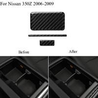 3Pcs Carbon Fiber Central Control Panel Trim Cover For Nissan 350Z 2006-2009