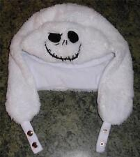 Disney Jack Nightmare Before Christmas white faux fur trapper beanie aviator hat