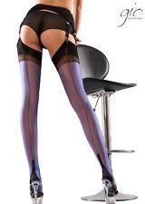 Gio FF Full Contrast Cuban Heel Blue/Black Stockings Nylons Hosiery Perfects