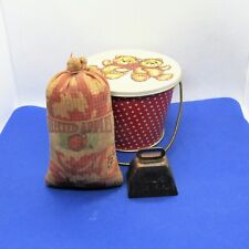 Vintage Apple Sack Pin Cushion Cowbell Bisquick Biscuit Cutter & Tin Bucket (c6)