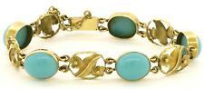 Antique 14K gold beautiful 11.6 X 9.5mm cabochon turquoise floral link bracelet