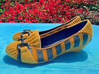 POETIC LICENCE Mary Janes Anthropologie Wedges Rum Raisin & Canary Sz 6 ❤️ts17j
