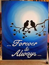Lovers Birds Acrylic Painting. Love Birds 14 x 18 inches canvas Valentine's Gift