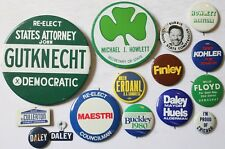 Lot 14 Political Campaign Pins and 3 Thimbles & 2 Tabs Mayor Daley Chicago