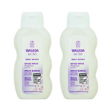 2 X Weleda Baby Derma White Mallow Body Lotion (Sensitive Skin) 200ml NEW#9702_2