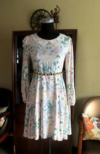 EUC vintage style lace collar-detail long-sleeved skater dress