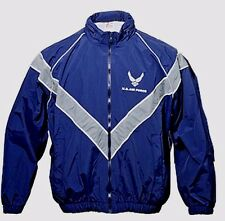 AIR FORCE Blue Military PT Jogging WINDBREAKER JACKET Coat Size Men LARGE