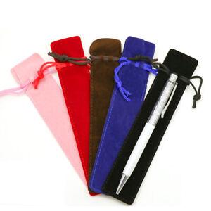 Pen Pouch Velvet Black Blue Red Pink Brown Pen Pouches Pockets Drawstrings UK~