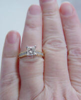 1.5CT Princess Cut Diamond Engagement/Wedding Ring in Solid real 14K Yellow Gold
