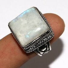 O-3331 Rainbow Moonstone 925 Silver Plated Vintage Style Ring Us 9