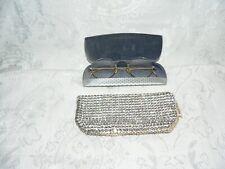Vintage Eyeglass Case w/Glasses + Austrian Prong Set Crystal Fancy Eyeglass Case