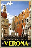 "Cool Retro Travel Poster *FRAMED* CANVAS ART Verona Italy 24x16"""
