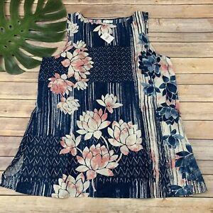 Pure J Jill Linen Tunic Top Size XL New Blue Pink Floral Sleeveless Lightweight
