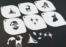 Set of 6pcs Xmas Stencils Santa Tree Robin Deer Stars Stocking Sock Face Paint