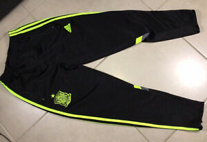 Men's Adidas Soccer Spain Pants Size S SMALL Black Yellow Football Soccer Jersey