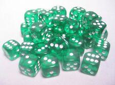 Set 36 d6 Dadi Chessex TRANSLUCENT GREEN white 23805 Dice Trasparente Verde