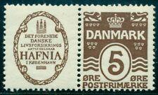 DENMARK (RE1) 5ore brown HAFNIA advertising pair og, LH