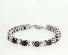 "Sterling Silver Alternating Ruby & White Topaz Tennis Bracelet 7"""