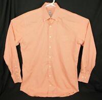 Peter Millar Crown Finish Mens Size M Long Sleeve Button Down Orange Check Shirt