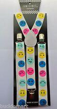Cool Emoticons Emojis Smileys Colorful EMOJI SUSPENDERS Unisex Adjustable