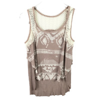We The Free People Women Ribbed Knit Hi-Lo Hem Tank Top Size XS Multicolor
