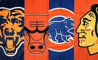 Chicago Bears Cubs Blackhawks Bulls Flag 3x5 ft Sports Black Banner Man-Cave New
