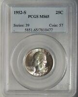 1952-S 25C Washington Silver Quarter GEM PCGS MS65 #7810477 Read Description