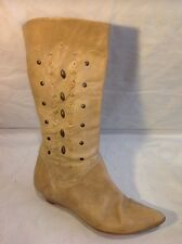 George Beige Mid Calf Leather Boots Size 38