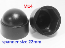 M14-10cups Bolt Nut Domed Cover Caps Plastic / Black