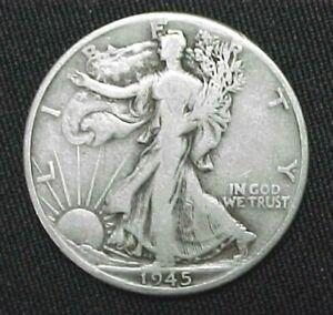 1945-D Liberty Walking Silver Half Dollar circulated ungraded coin,