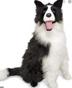 Dog Plush Stuffed Animal Toy Border Collie Realistic Gift Nursery Kids New