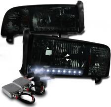 94-01 DODGE RAM LED STRIP SMOKE CRYSTAL HEAD LIGHT W/50W 8000K HID CORNER SIGNAL