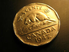 Canada 1947 Maple Leaf Variety 5 Cent Coin.