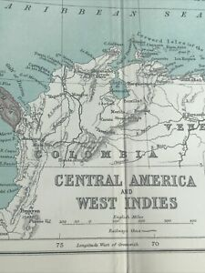 1910: Antique Map Of Central America & West Indies Vintage Original Print Gifts