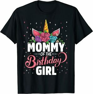 Birthday Party Family T-Shirt S-5XL Mommy Of The Birthday Lovely Girl Unicorn